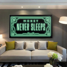 Money Never Sleeps Canvas Art Posters And Prints Inspiring Phrases Canvas Paintings On the Wall Art Pictures Home Wall Decor