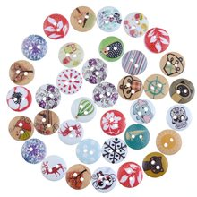 Free Shipping Retail 50Pcs Random Mixed 2 Holes Round Pattern Wood Sewing Baby Buttons Scrapbooking 15mm free shipping 100 pcs mixed 7 colors square wood beads letter a z cube sewing scrapbooking crafts handmade 1 hole wooden button