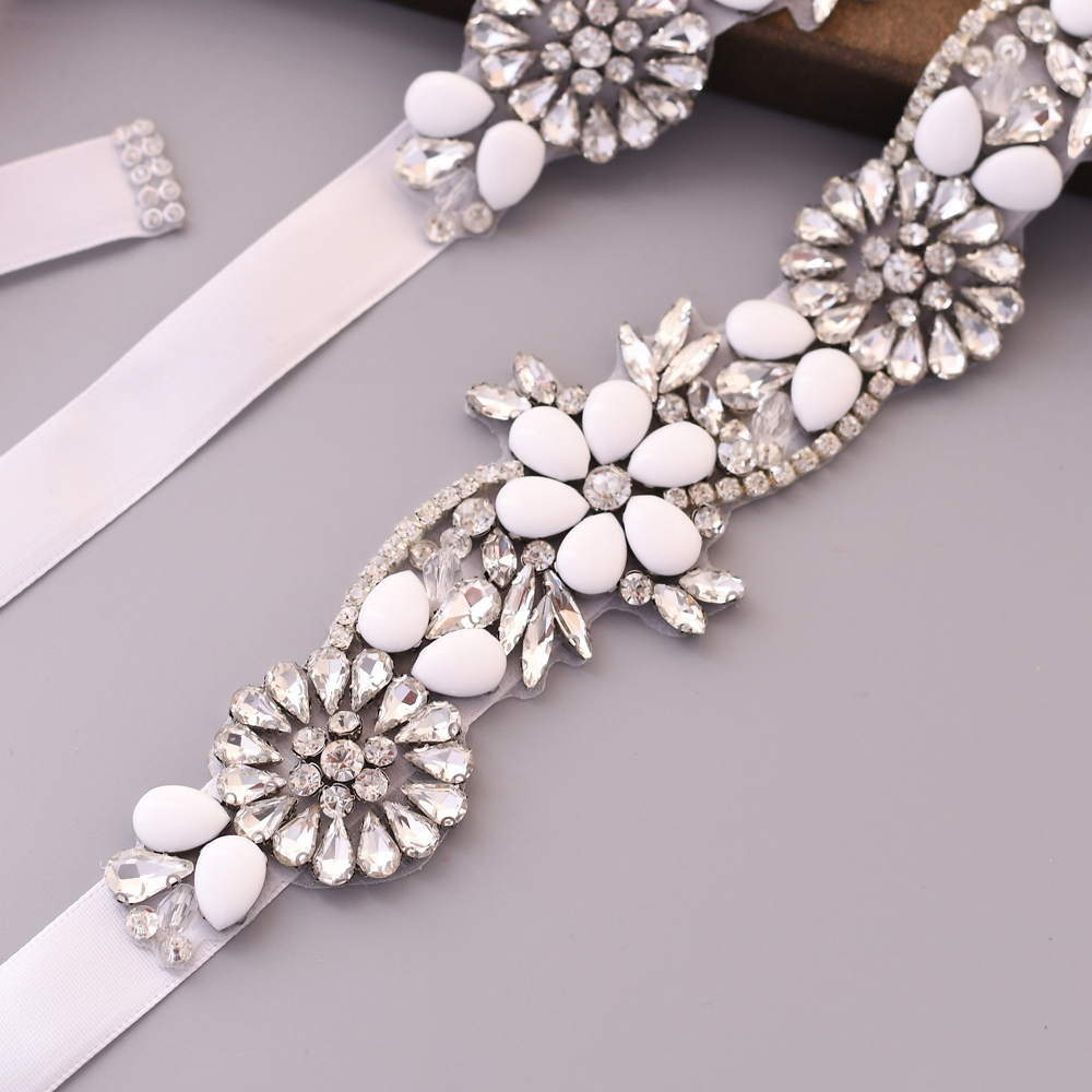 TRiXY S431 Elegant Silver Rhinestone Belt Wedding Belt Sash Bridal Belt for Dress Bridesmaid Belt Jewel Belt for Women Waistband