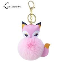 New cute PU fox fur ball key ring pendant imitation rabbit lady bag car keys accessories holiday gifts plush toys.