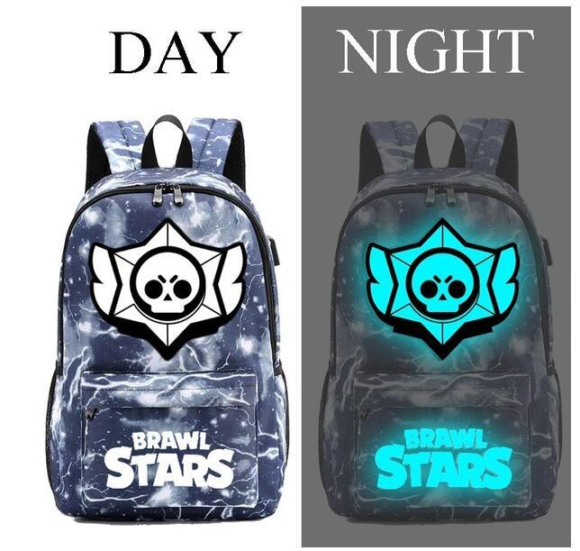 Brawl Stars Children Backpack School Bags For Boy Girls Luminous Travel Bags Kids Waterproof Book Bag USB Charging Knapsack