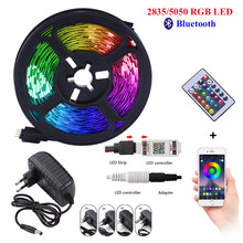 Bluetooth LED luces de tira de 20M RGB SMD 5050 cinta Flexible RGB impermeable LED luz 5M 10M cinta de DC 12V Control 15M 2835