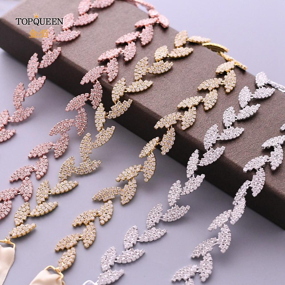 TOPQUEEN S198 Wedding Belt For Bride Bridal Sash Silver Gold Rose Gold Dress Accessories Bride Waistband Wedding Sashes