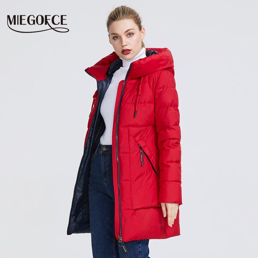 MIEGOFCE 2019 Winter Frauen Sammlung frauen Warme Jacke Mit Echten Bio Winter Jacken Winddicht Stand Up Kragen mit Haube-in Parkas aus Damenbekleidung bei  Gruppe 3
