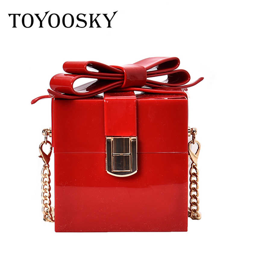 TOYOOSKY Transparent Acrylic Bags Red Clear Clutch Purses Box Women Shoulder Bags Wedding Party Evening Handbags For women