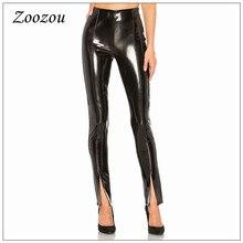 Kobiety Sexy Bodycon lateksowe spodnie skórzane Split spodnie do kostek szczupła ciepła, czarna ołówkowe spodnie Skinny Pu lakierowane skórzane legginsy niestandardowe