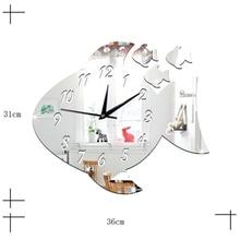 Cute Fish Shape Acrylic Wall Clock Mirror Sticker Watch DIY Decal for Kids Room U7EE