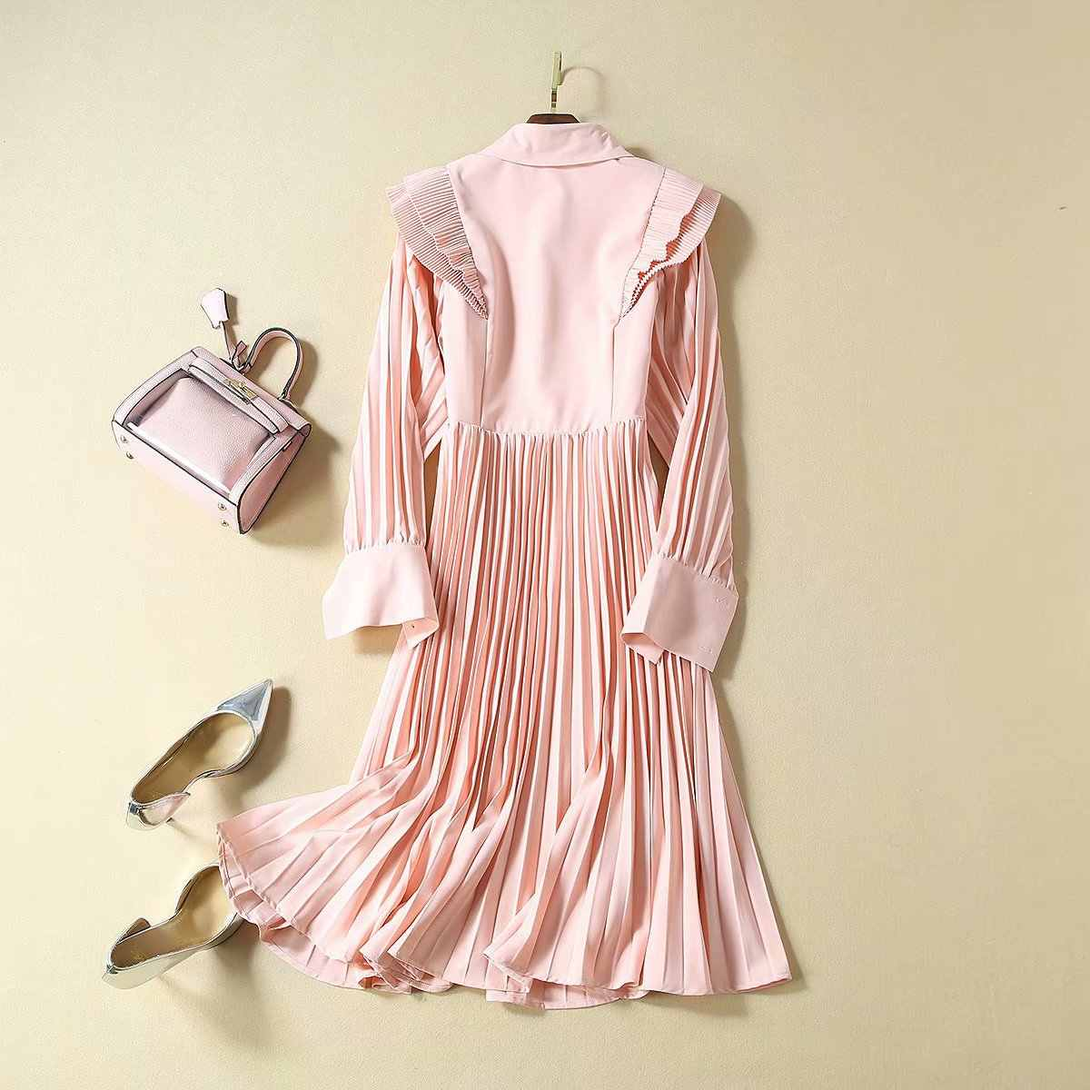 Высокое качество, Дворцовый стиль, осень 2019, импортные товары, женское Новое плиссированное платье с вышивкой и оборками, с длинным рукавом, S-XL, розовое