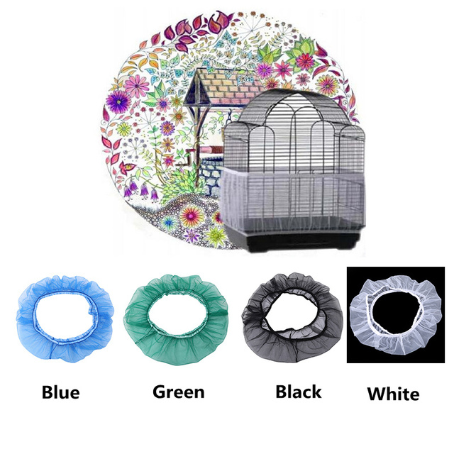 Free Shipping Cage Net New Bird Cage Covers Mesh Catcher Guard Bird Cage Net Shell Skirt Dust-proof Airy Mesh Parrot Cage Cover 4