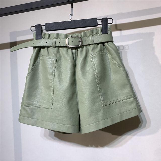 Autumn Winter Faux Leather High Waist Shorts Women With Belt Pockets Wide Leg Sexy Shorts Short Femme Women Leather Shorts C5922 2
