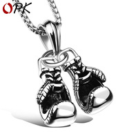 OPK retro fitness boxing gloves titanium steel necklace lettering domineering fashion punk pendant men's accessories