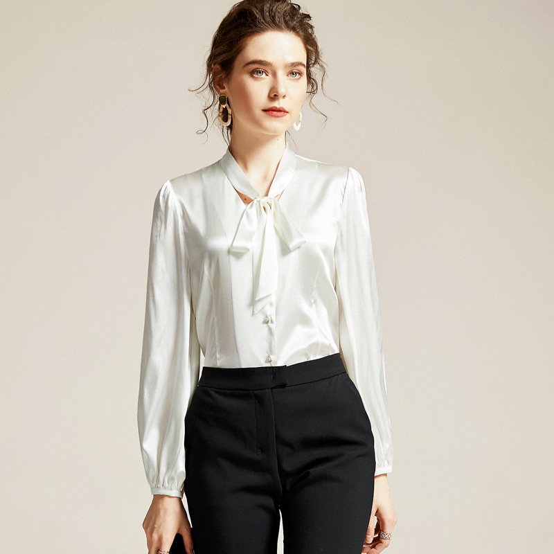Pure Silk Blouses Spring Long Sleeve Shirts Women Soft Stain Shirt Bow Ribbons White Office Ladies Tops Black Clothes Brand za