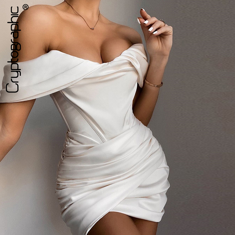 Cryptographic Blush Satin Ruched Women's Mini Corset Dresses Bodycon Party Night Club Off Shoulder Gown Elegant Dress Birthday|Dresses| - AliExpress