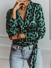 2020Fashion Women Leopard Print New Style Long Sleeve Shirt Tops For Morden Girls Ladies Loose Blouse Plus Size S-XL Green Pink(China)