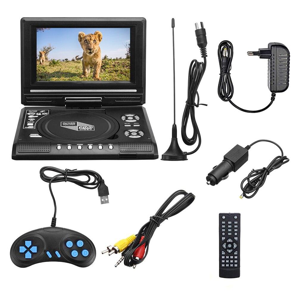 7.8 pouces Portable voiture lecteur DVD USB HD TV maison voiture lecteur DVD VCD MP3 CD lecteur Portable câble jeu 16:9 rotation écran LCD