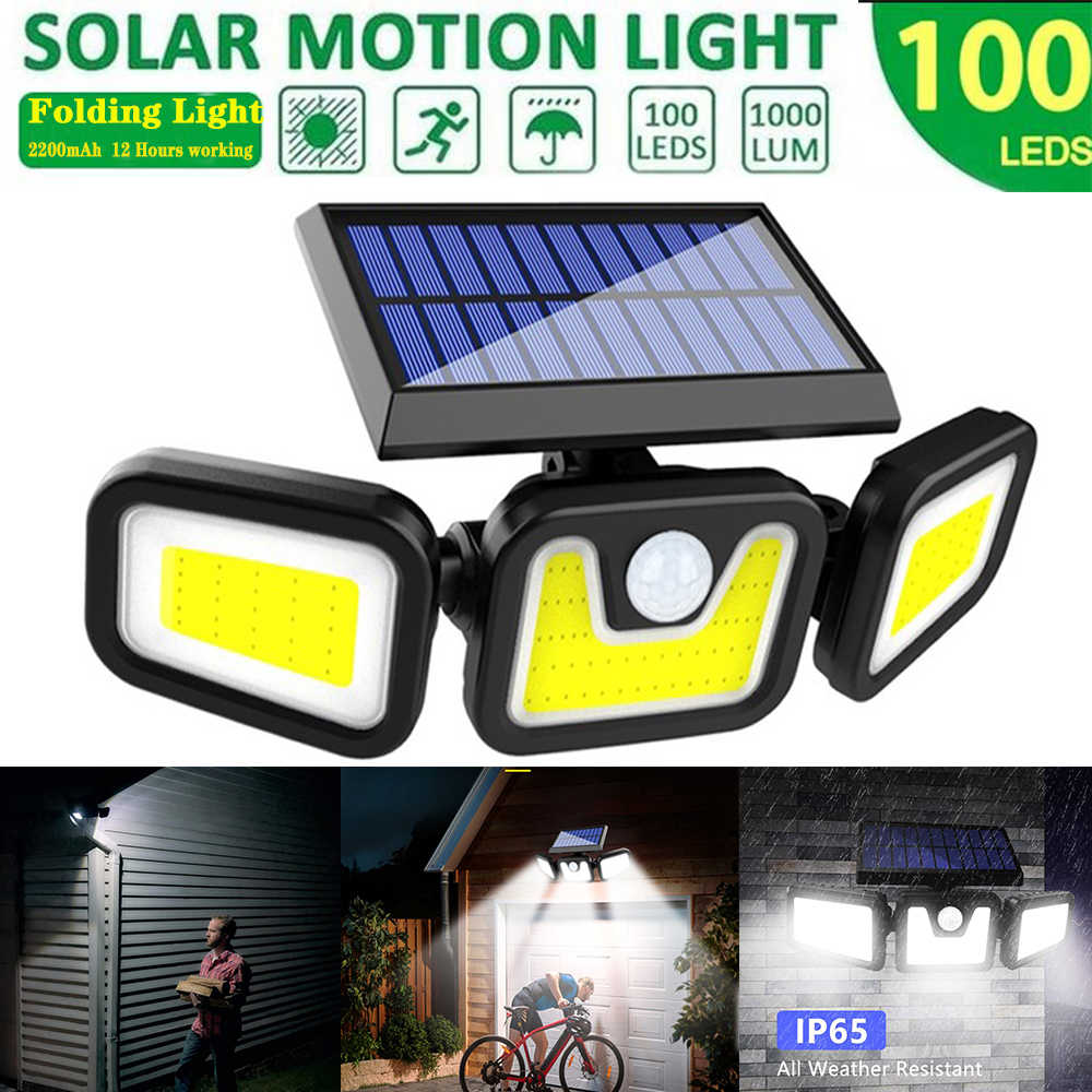 3 Head Solar PIR Motion Sensor LED Light Outdoor Garden Wall Security Flood Lamp