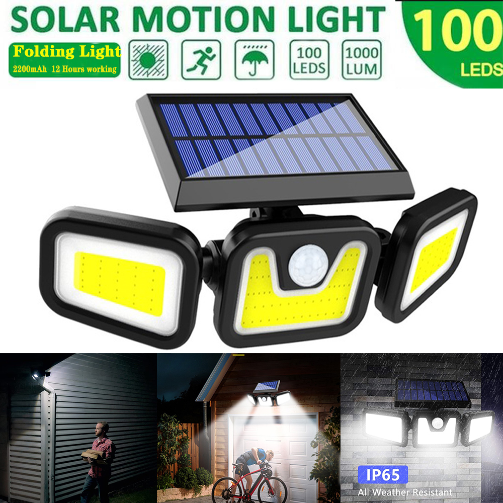 100 LEDs Solar Powered Wall Light 3 Heads Rotating Motion Sensor Lamp for Outdoor Courtyard Garden Road Roof Waterproof Lighting