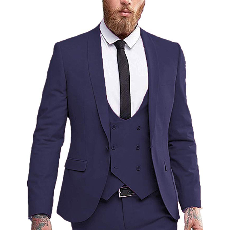 Double-breasted Vest Mens Suit 3 Pieces Slim Fit Formal Business Notched Lapel Tuxedos Groomman For Wedding(Blazer+Vest+Pant)