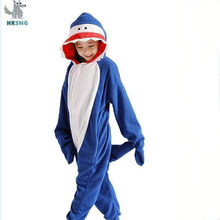 HKSNG Neue Link Kinder Shark Kigurumi Onesies Kostüm Fleece Pyjamas Tier Halloween Party Overalls Weihnachten Pyjamas Anzug(China)