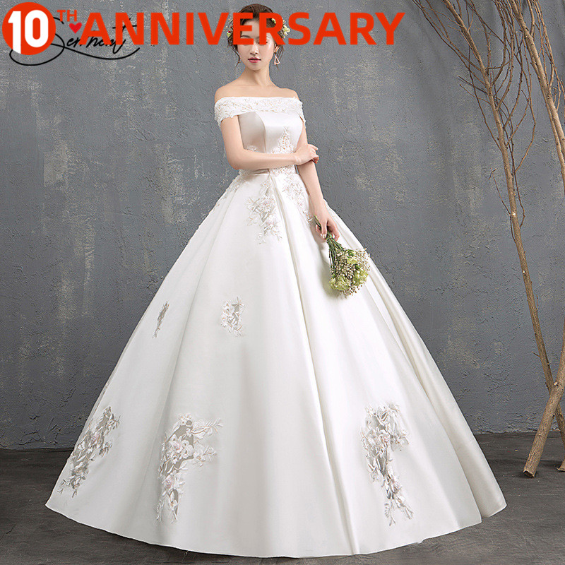 OllyMurs Luxury Wedding Dress Off The Shoulder Design Back Lace Up Strapless Ankle-Lenght Gown Soft Satin Applique Free Custom