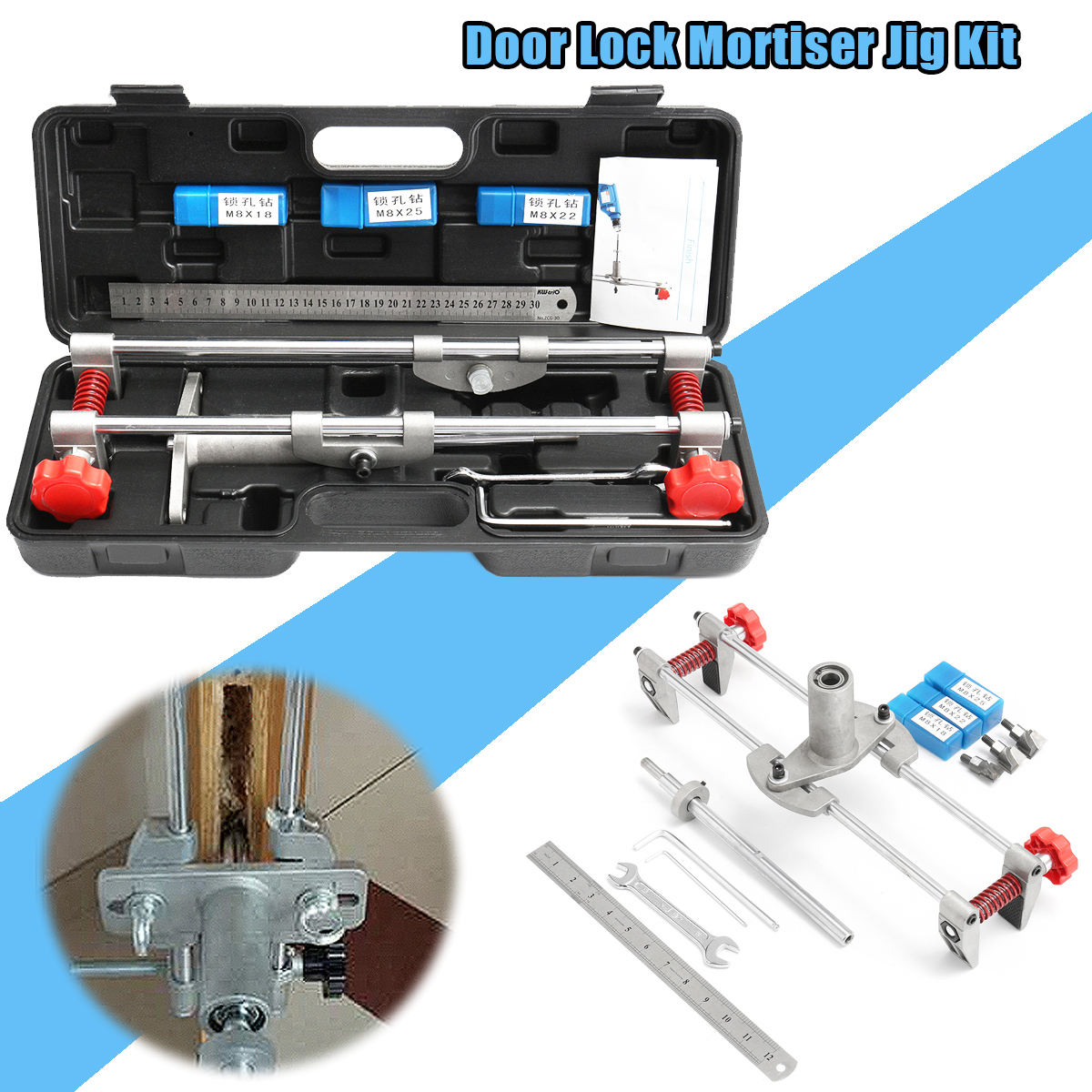 8 Pcs Mortice Door Fitting Jig Lock Mortiser DBB Key JIG1 With 3 Cutters Case Maintenance Security Tool Door Lock Mortice Kit