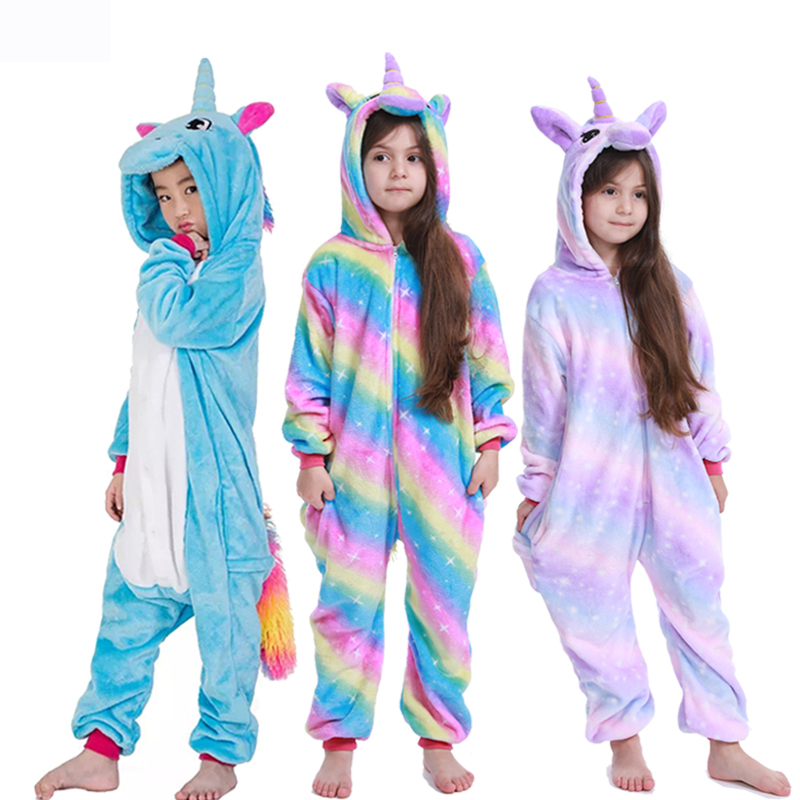 Kids Kigurumi Onesie Unicorn Pajamas For Children Animal Cartoon Blanket Sleepers Baby Costume Winter Boy Girl Licorne Jumspuit