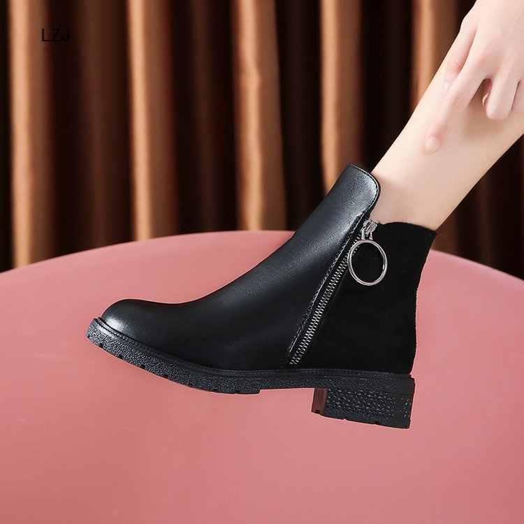 LZJ 2019 Bayan Botları Kış Moda Tıknaz Topuklu Bayan Ayakkabıları Kadın PU Deri yarım çizmeler Kadınlar Için Fermuar Martin Çizmeler