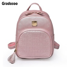 Gradosoo Stone Pattern Backpack Women Leather Mini Luxury Shoulder Bag Bags For 2019 Travel LBF608