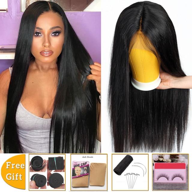 Brazylijskie pasma prostych włosów z zamknięciem bez pasma włosów typu remy z zamknięciem peruwiańskie ludzkie włosy splot wiązki z zamknięciem