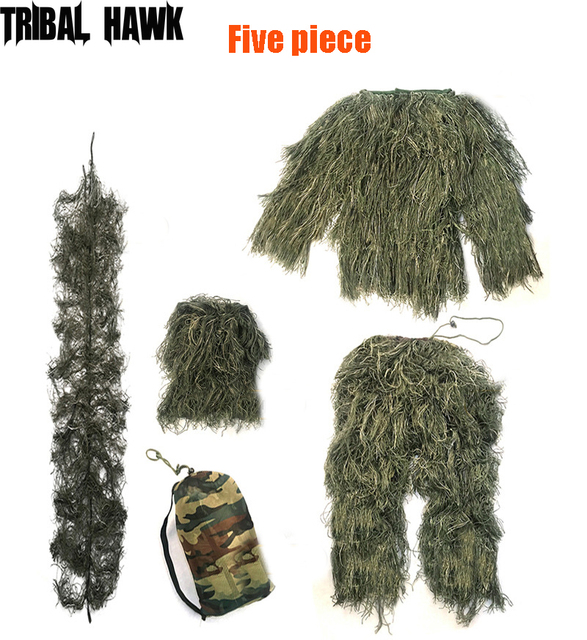 Full Size 3D Withered Grass Ghillie Suit 5 PCS Sniper Military Tactical Army Shooting Hunting Camouflage Clothes Birding Suit 2