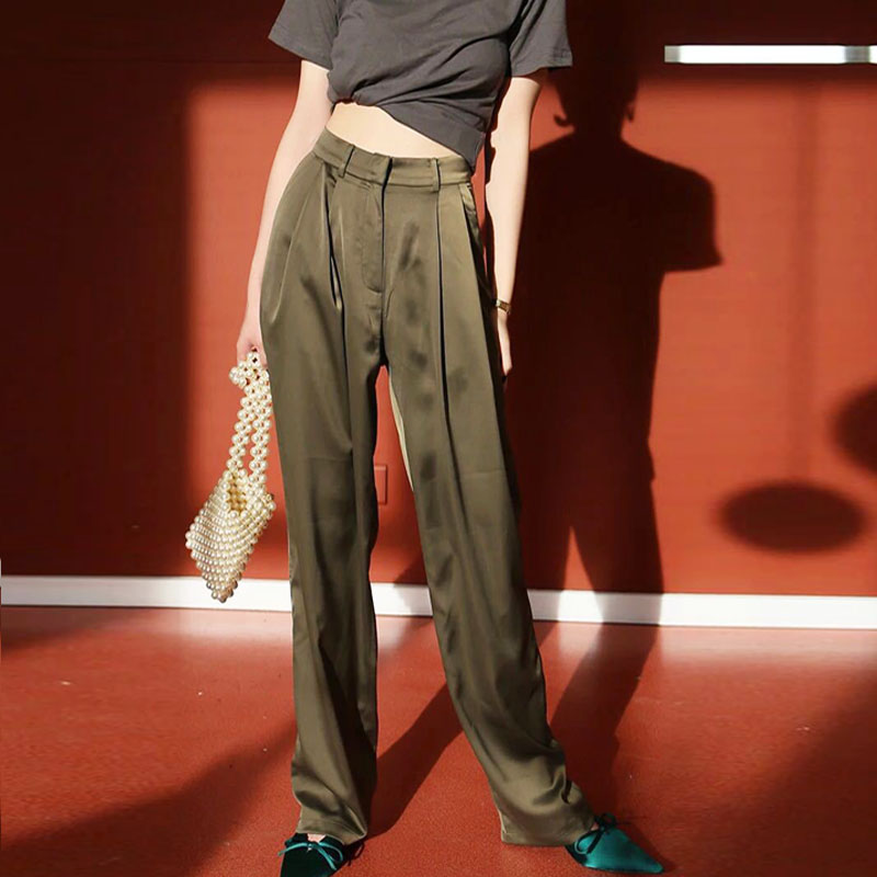 Silky Satin-finish High-waisted Mustard Green Pants Straight Mopping Gentle Wind Ice Silk Long Wide-leg Pants F1588