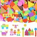 400/200 шт пенные наклейки геометрический паззл самоклеющиеся Ева стикеры детские образовательные игрушки