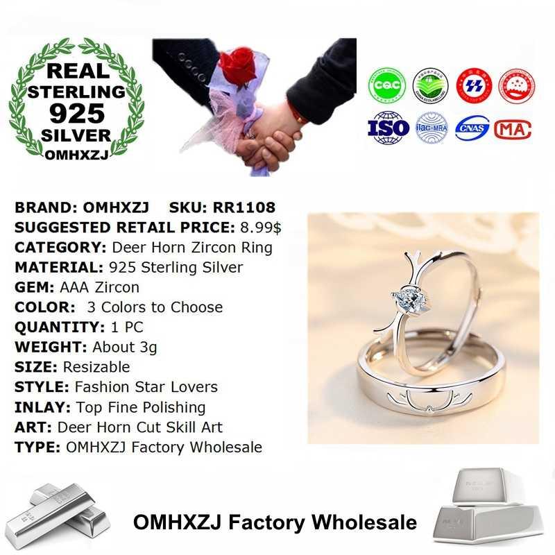 OMHXZJ RR1108 ขายส่งยุโรปแฟชั่นคนรักปาร์ตี้งานแต่งงานวันเกิดของขวัญกวางฮอร์น AAA Zircon S925 แหวนเงินแท้