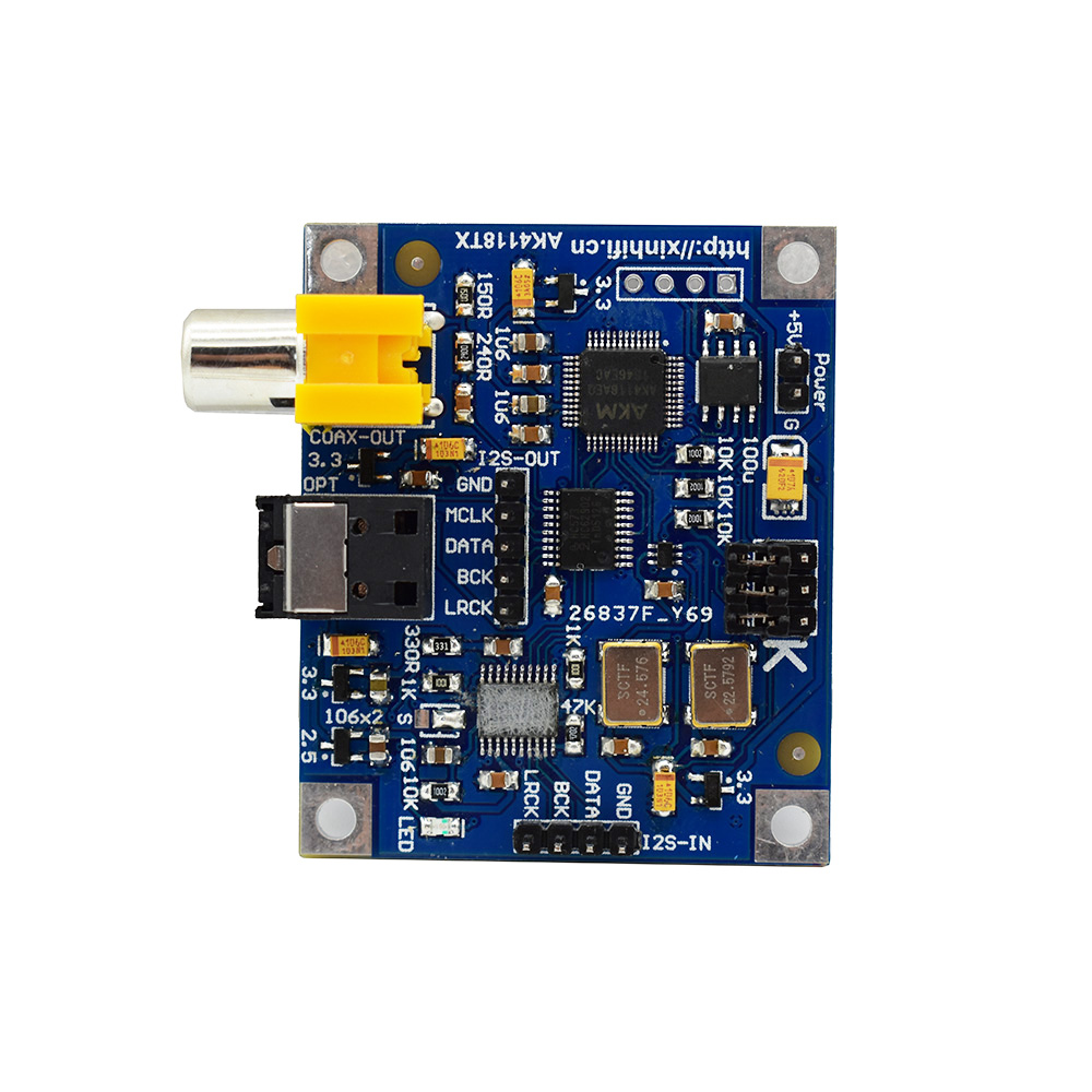 DYKB Ak4118 I2S To Coaxial Fiber With I2S Output Support 24bit 192K For Raspberry Pi 2B 3B 3B+  4B