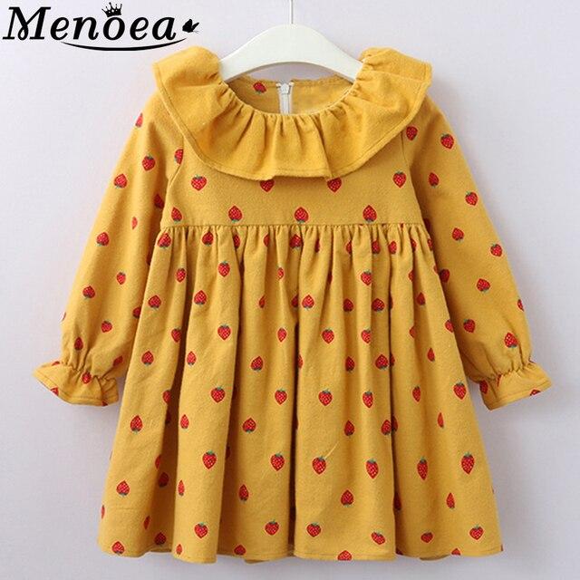 Menoea filles automne robes 2020 nouveau Style enfants modèle manches longues printemps vêtements 2-7Y bébé mignon fraise robe vêtements
