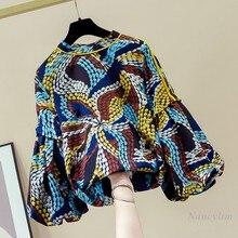 Blusas mujer de moda 2020 das mulheres manga longa lanterna chiffon camisa novas roupas de outono blusas femininas impressão
