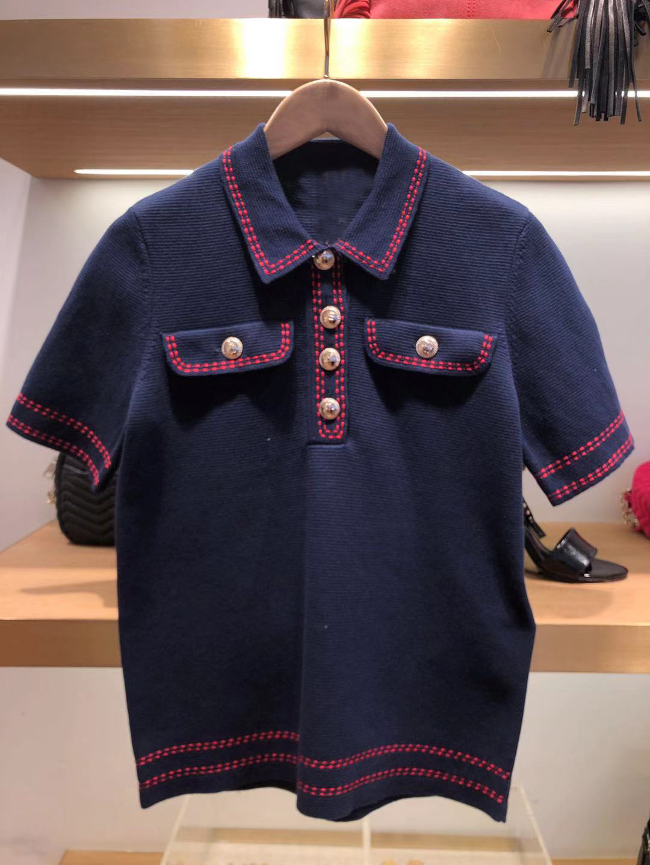 2020 Summer Temperament Lady Lapel Metal Buckle Contrast Color Knitting Shirt Jacket 22005