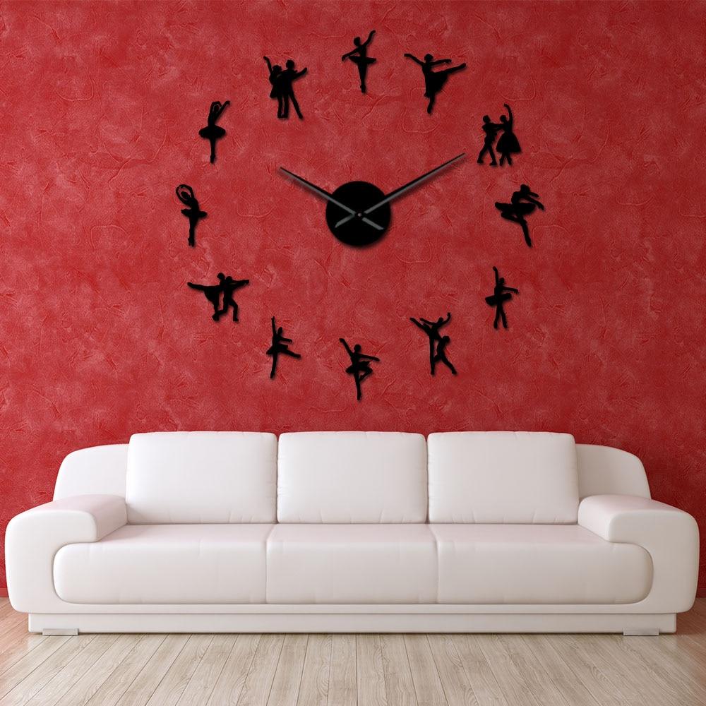 Ballerina Wall Art DIY Large Wall Clock Big Needles Frameless Giant Ballet Dancer Wall Clock Oversized Dancing Girls Clock Watch