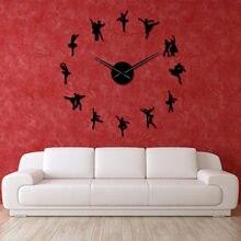 Ballerina Wand Kunst DIY Große Wanduhr Große Nadeln Rahmenlose Riesen Ballett Tänzerin Wand Uhr Übergroßen Tanzen Mädchen Uhr Uhr