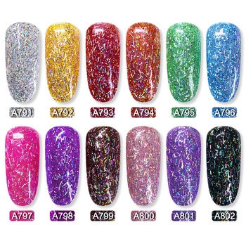 ROSALIND 12PCS/SET Shiny Silk Gel Nail Polish Manicure Kit Nail Art Design  Hybrid Glitter Platinum Gel Lacquer Top Base Coat 2