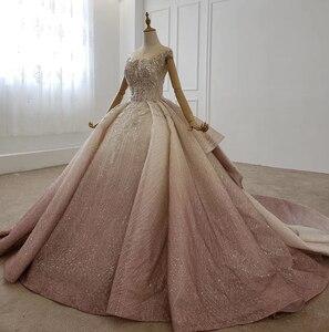 Image 3 - HTL1228 2020 árabe vestido de noche cuello lentejuelas cristal patrón de vuelta lujoso vestido de noche nuevo платья вечерние