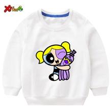 Baby Girl Sweatshirt Toddler Girl Sweatshirt White Sweatshirt Children Cute The Powerpuff Girls Fashion Kids Hoodie Long Sleeves black embroidered hoodie long sleeves mini sweatshirt