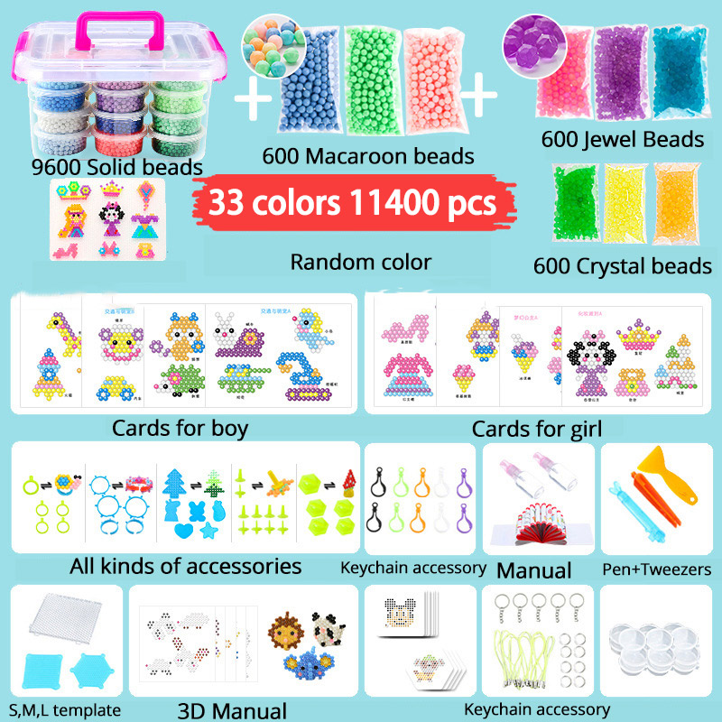 Magic Water Bead Mega Full Pack+Tool For Beginner 33 Colors DIY 3d Jewel/Crystal/Solid Mist Stick Bead Kit Toy For Kid Boy Gift