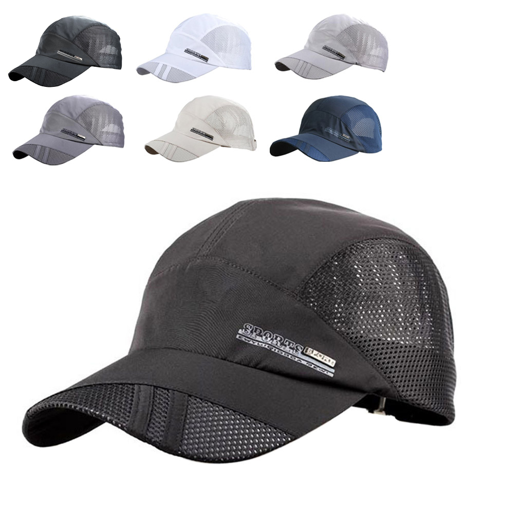 Outdoor Sun Hat Summer Breathable Mesh Baseball Cap Quick Drying Hats For Men Blue Gray Black Adjustable Sports Caps