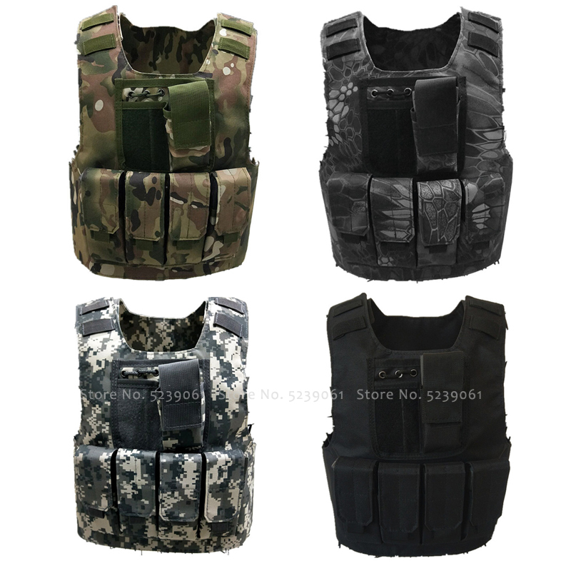 Tactical Bulletproof Camouflage Vests Kids Army Soldier Military Uniforms Children Combat Armor Special Forces Cosplay Costumes