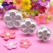 Emporte-pièce en forme de fleur, 3 pièces, DIY, moule à Fondant en plastique pour gâteau, outils de décoration, accessoires de cuisson