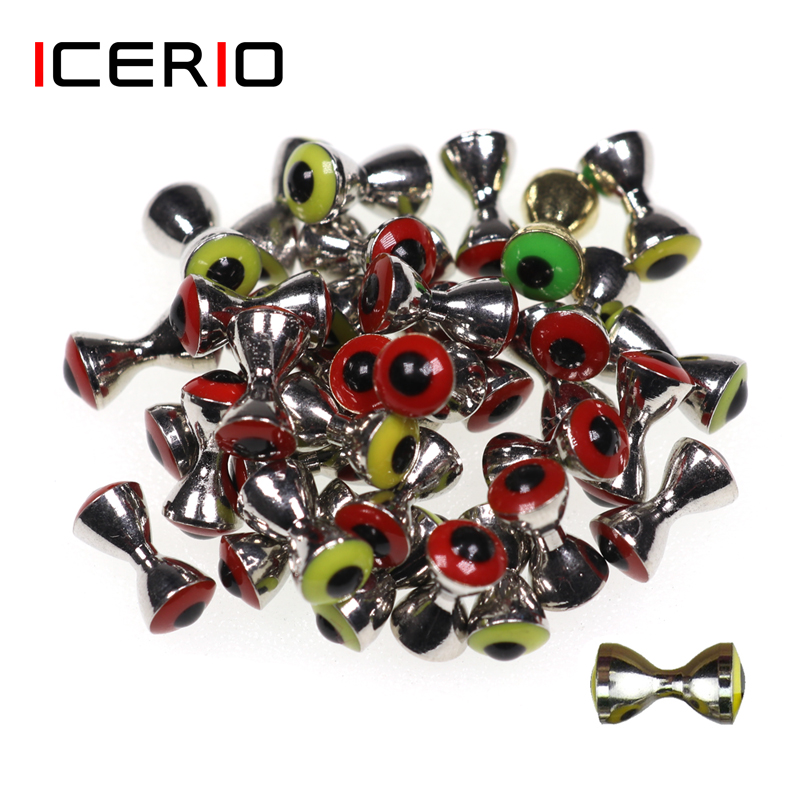 ICERIO 10PCS 3D Realistic Solid Dumbbell Fish Eyes Fly Tying Materials Sunken Brass Barbells Beads Pseudo Eyes