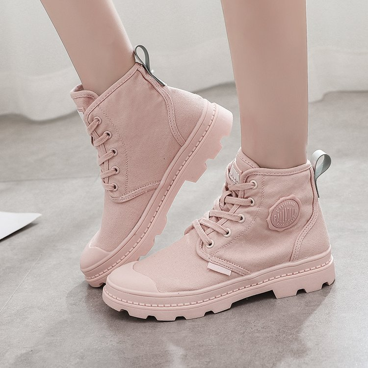 Canvas Martin Boots Spring And Autumn WOMEN'S Shoes Hight-top Canvas Shoes Women's Combat Boots Big Head Shoes Retro Boots Shoes