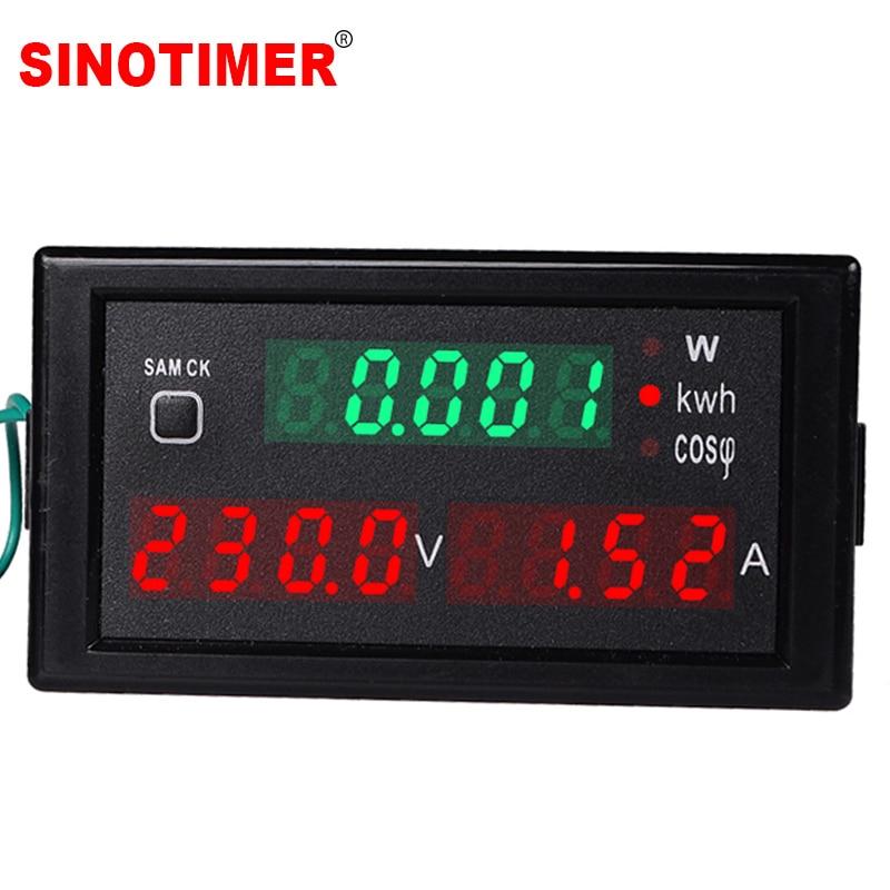 Voltímetro e amperímetro elétrico 220v 380v 100a, visor elétrico ac, voltagem de energia atual, voltímetro e amperímetro, painel, medidor de energia redefinir