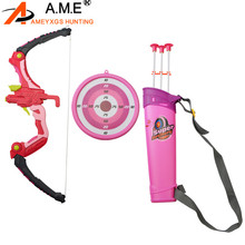 1set  Archery Children Bow Toy Target Practice with Arrows and Quiver Outdoor Game Kids Gift
